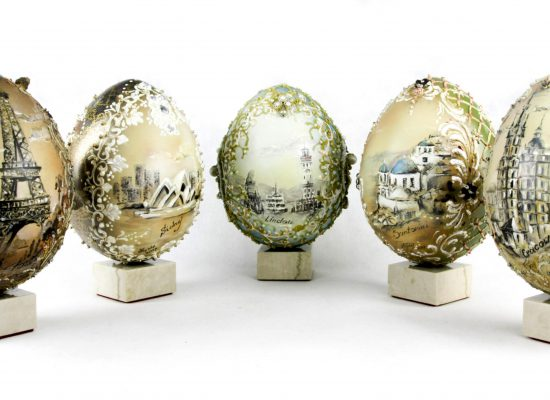 Eggs a la Faberge. Hand-painted. City themes