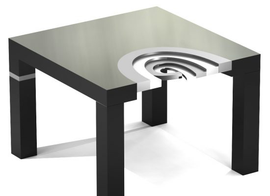 high-gloss lacquered aluminum wood coffee table