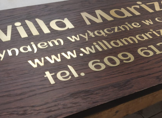 Wooden signboard - golden laminate letters